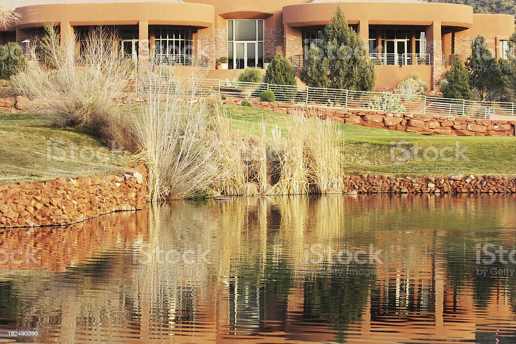 Golf Course Clubhouse Reflection stock photo