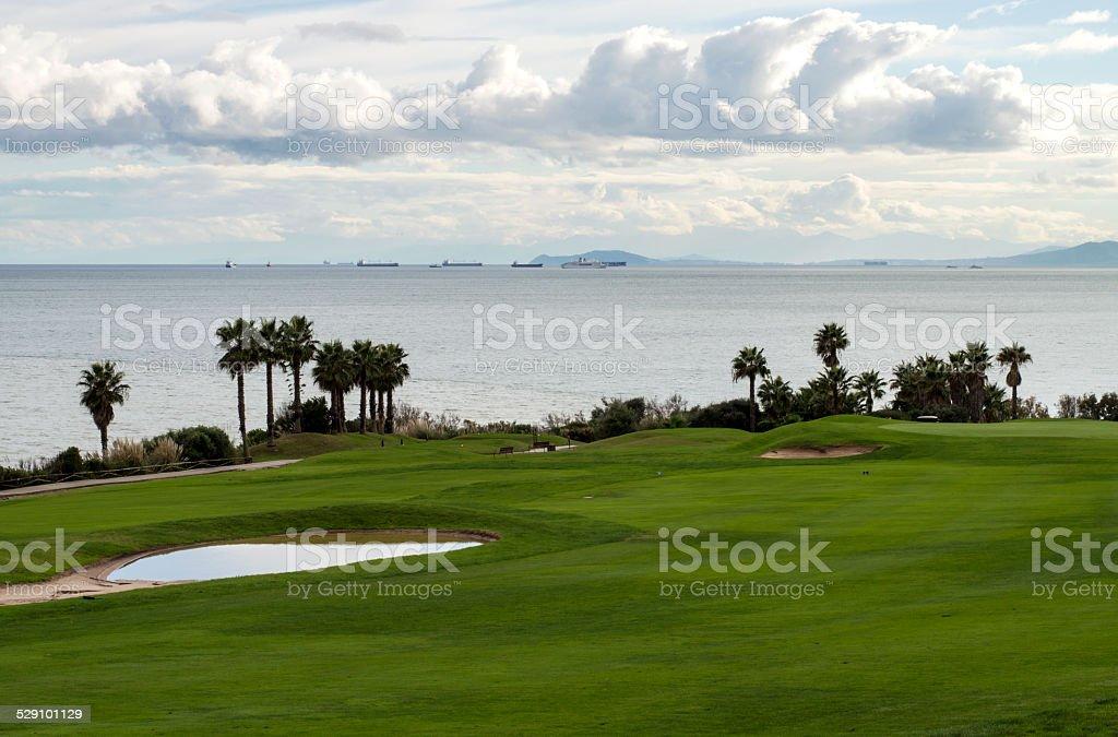 Golf course in Alcaidesa, Andalusia, Spain stock photo