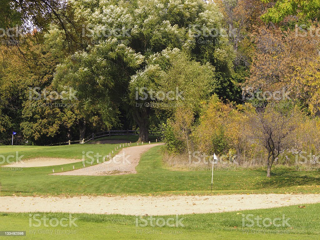 Golf course in autumn royalty-free stock photo