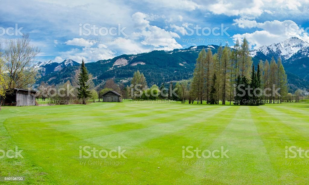 Golf course in mountains stock photo