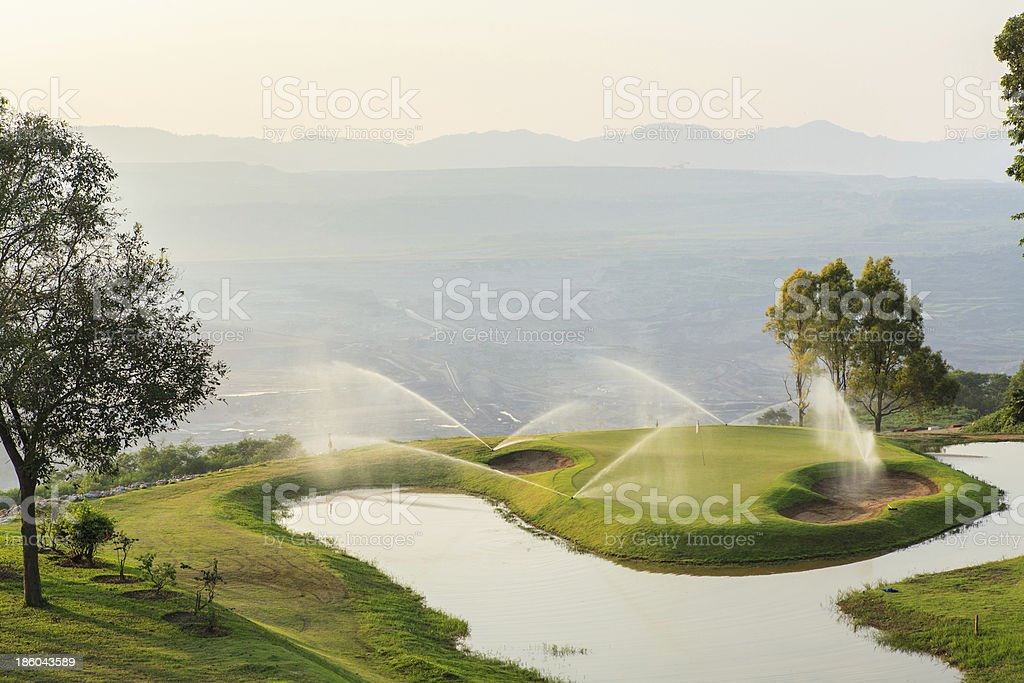 Golf  Course in Open Pit stock photo