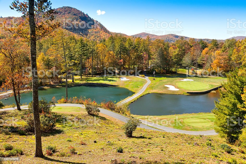 Golf Course in the Cashiers, North Carolina royalty-free stock photo