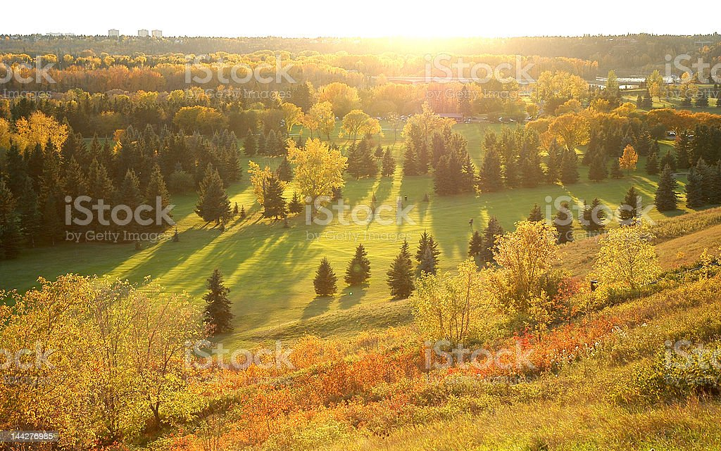 Golf course in the Fall stock photo