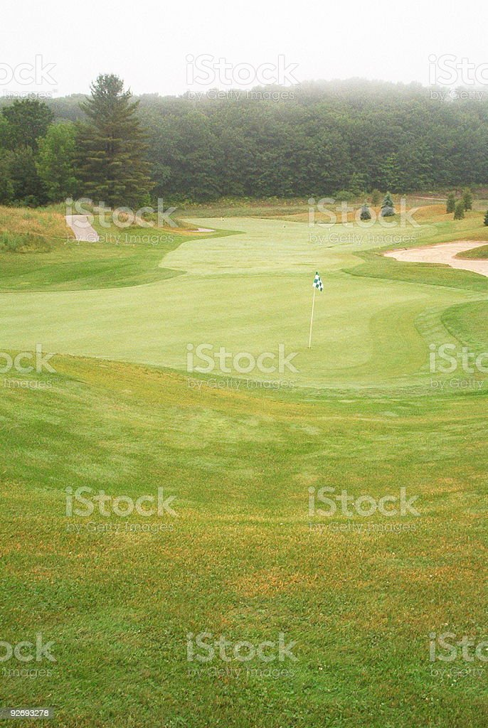Golf course - misty morning royalty-free stock photo