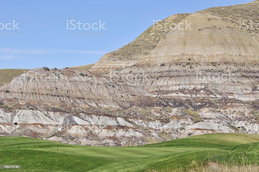 Golf course near Drumheller, Alberta royalty-free stock photo