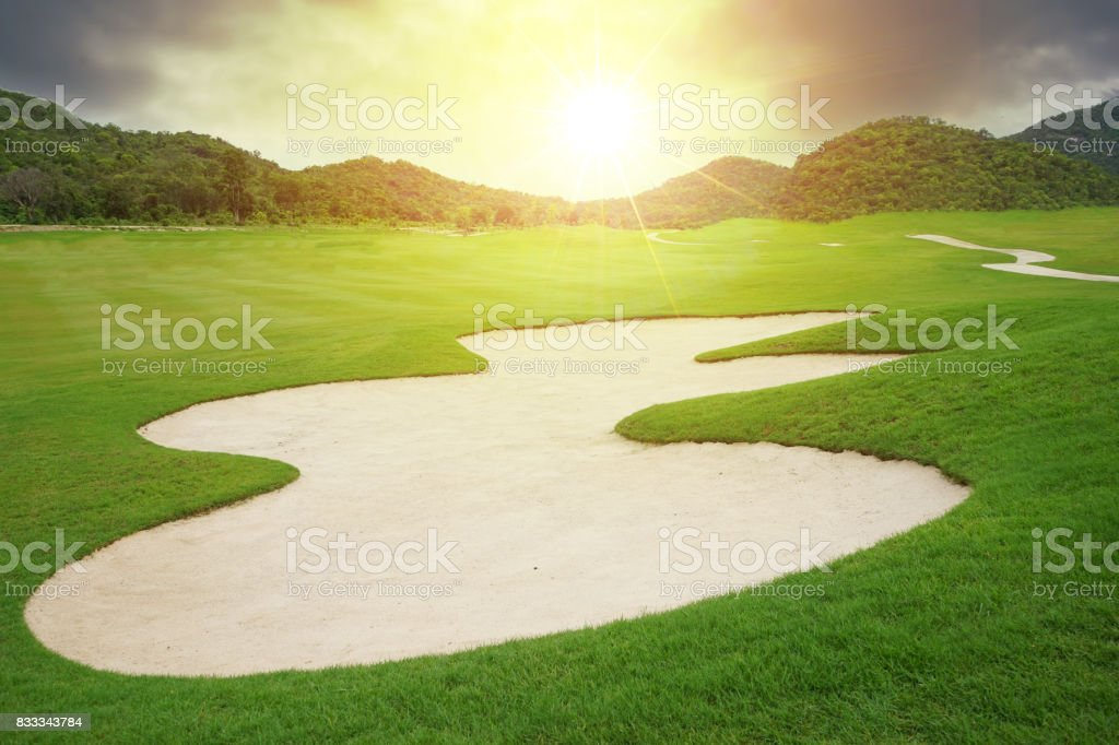 Golf course no people stock photo