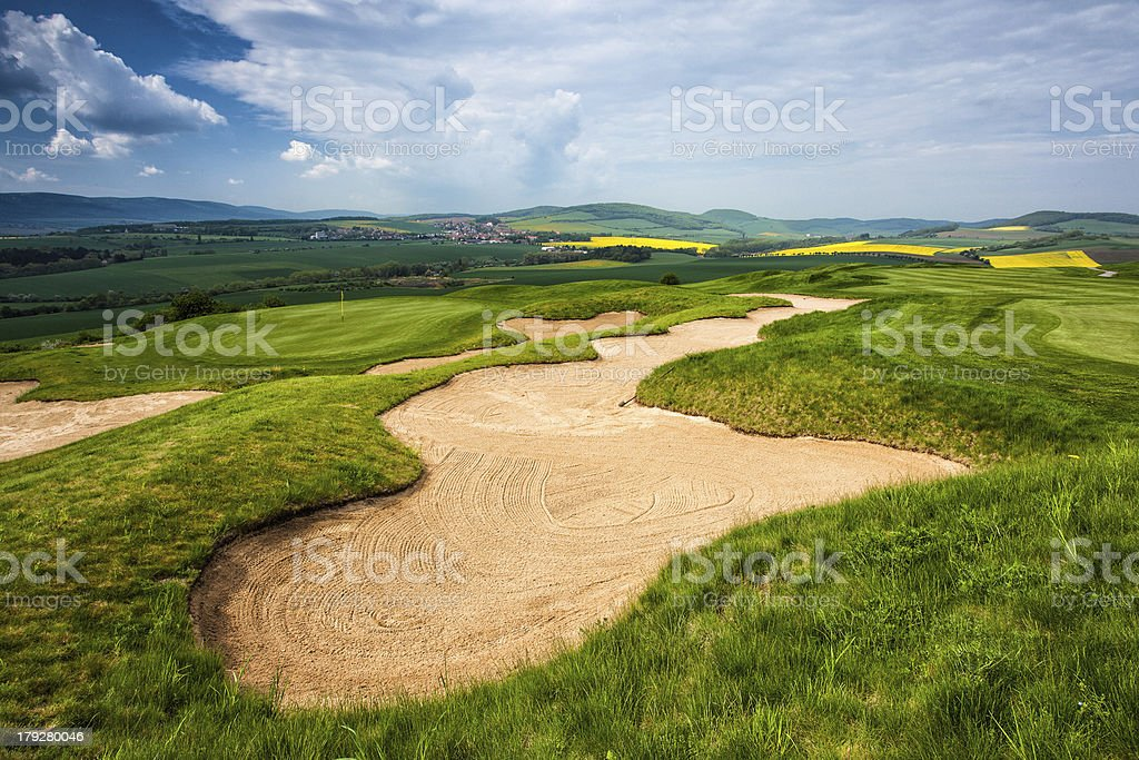 Golf course on the hills royalty-free stock photo