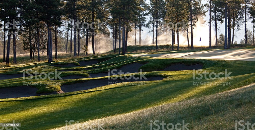 Golf Course Panorama With Mist royalty-free stock photo