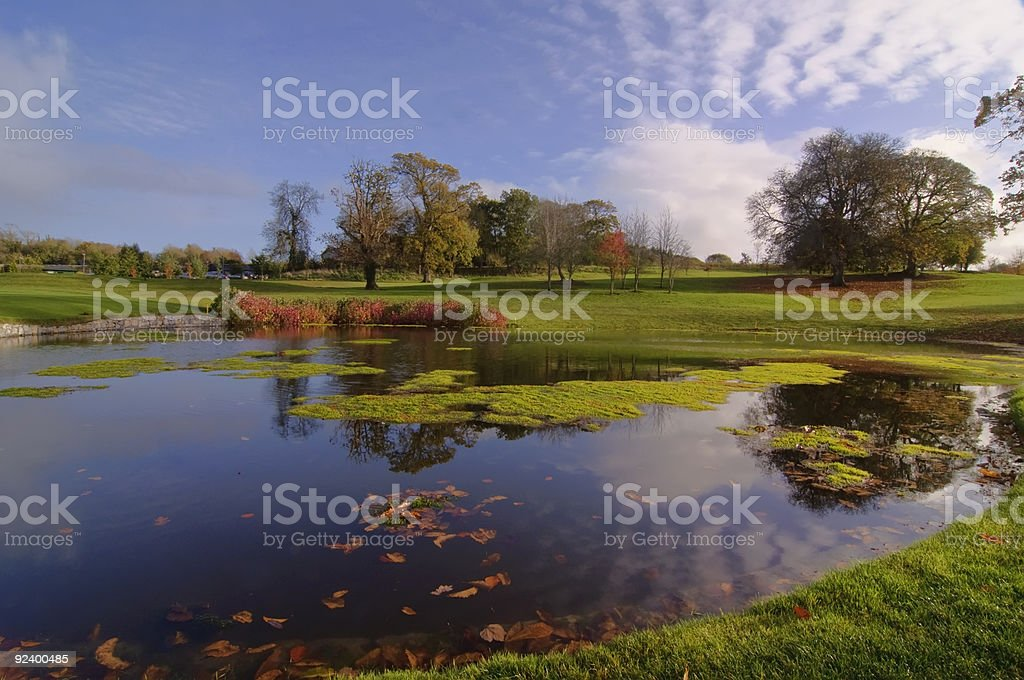 golf course park pond by trees and blue sky royalty-free stock photo