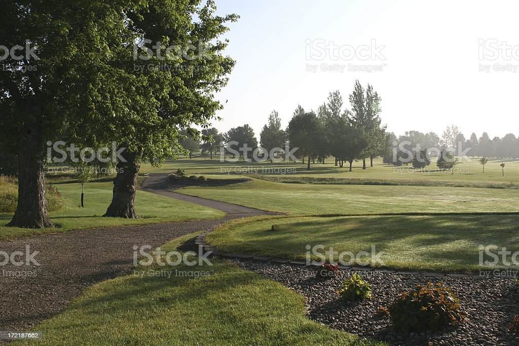 Golf Course - Peaceful morning scene. royalty-free stock photo