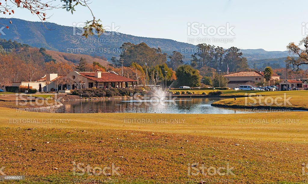 Golf Course Pond and Club House stock photo
