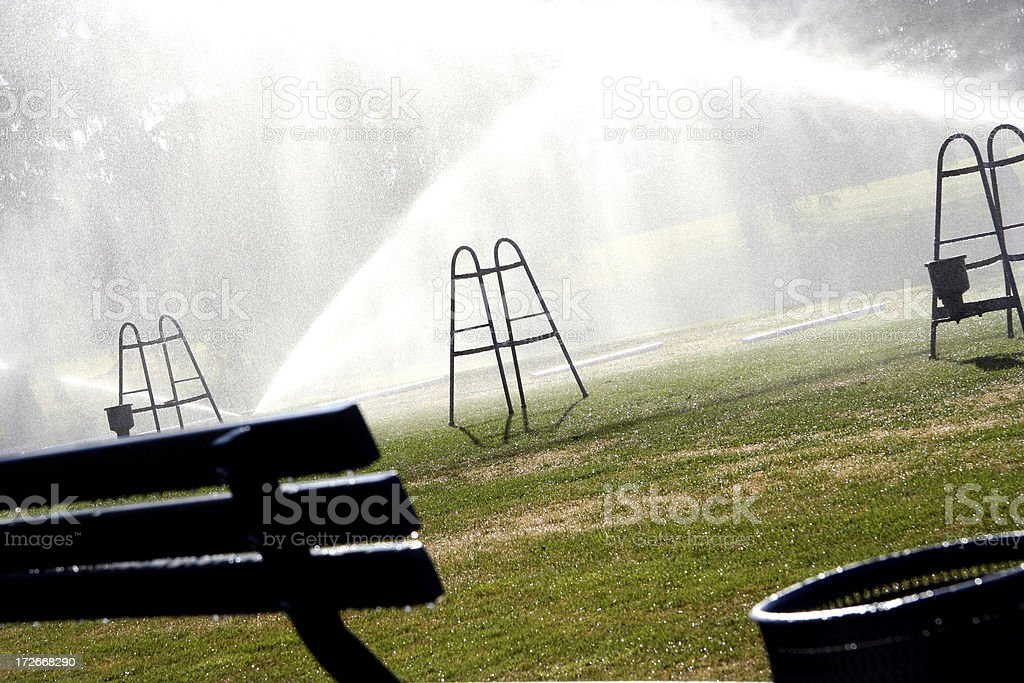 Golf Course Practice Spinklers royalty-free stock photo