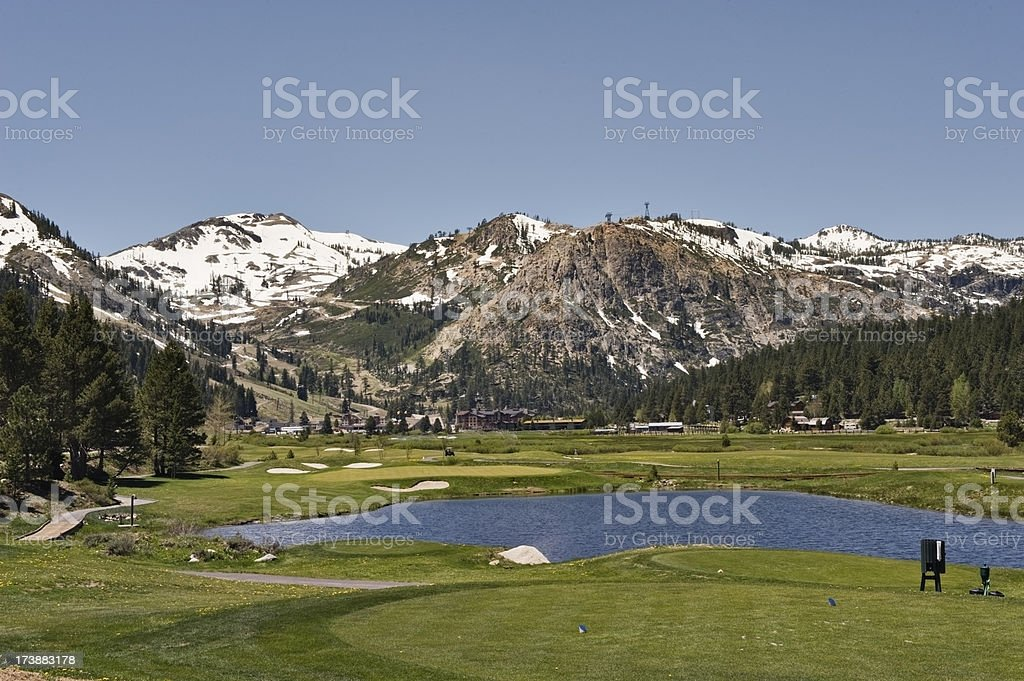 Golf Course Sierra Nevada Mountains stock photo
