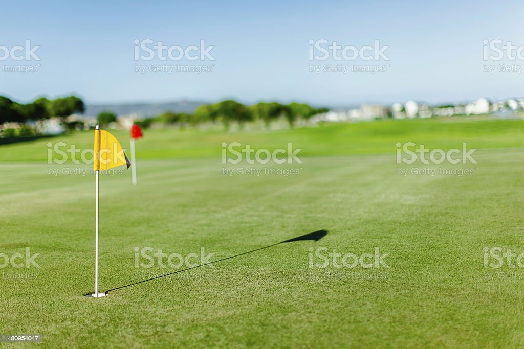 Golf course with flag on putting green in the foreground royalty-free stock photo