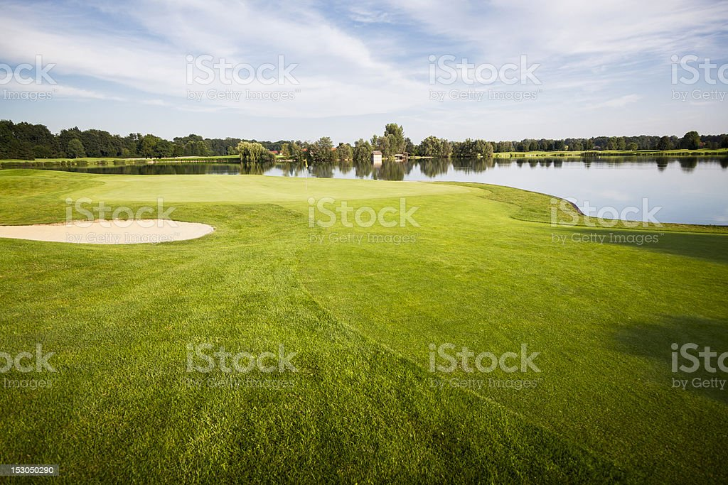 Golf course with green. royalty-free stock photo