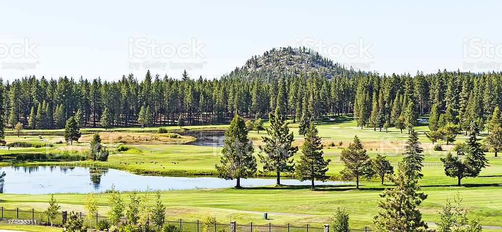Golf Course with Ponds royalty-free stock photo