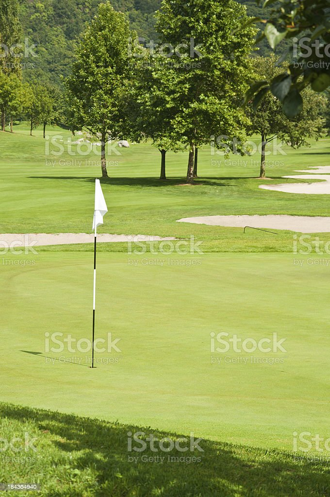 \'golf course with flagstick, hole, trees, sand bunkers and putting...