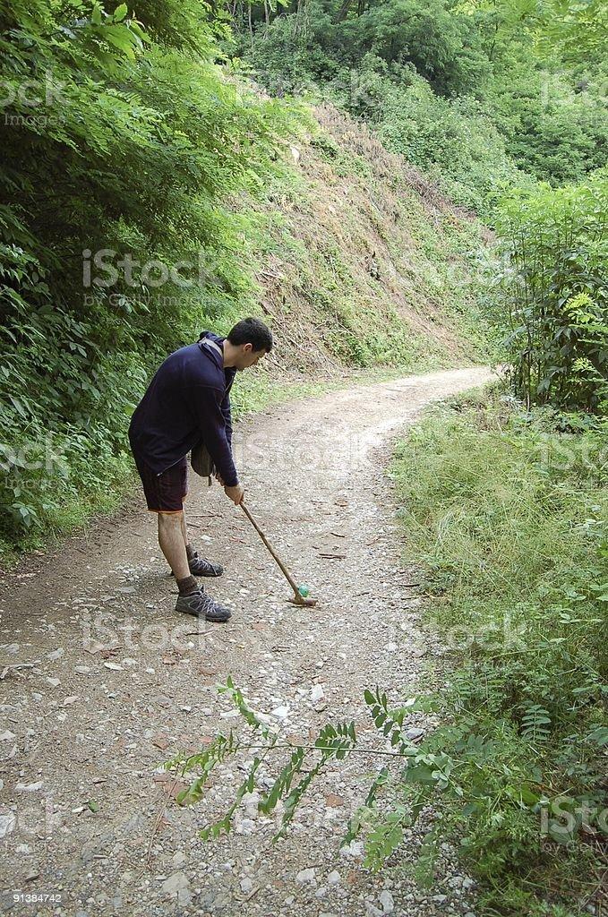 golf down the mountain royalty-free stock photo