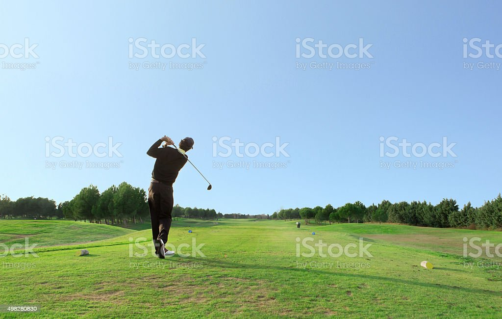 golf drive stock photo