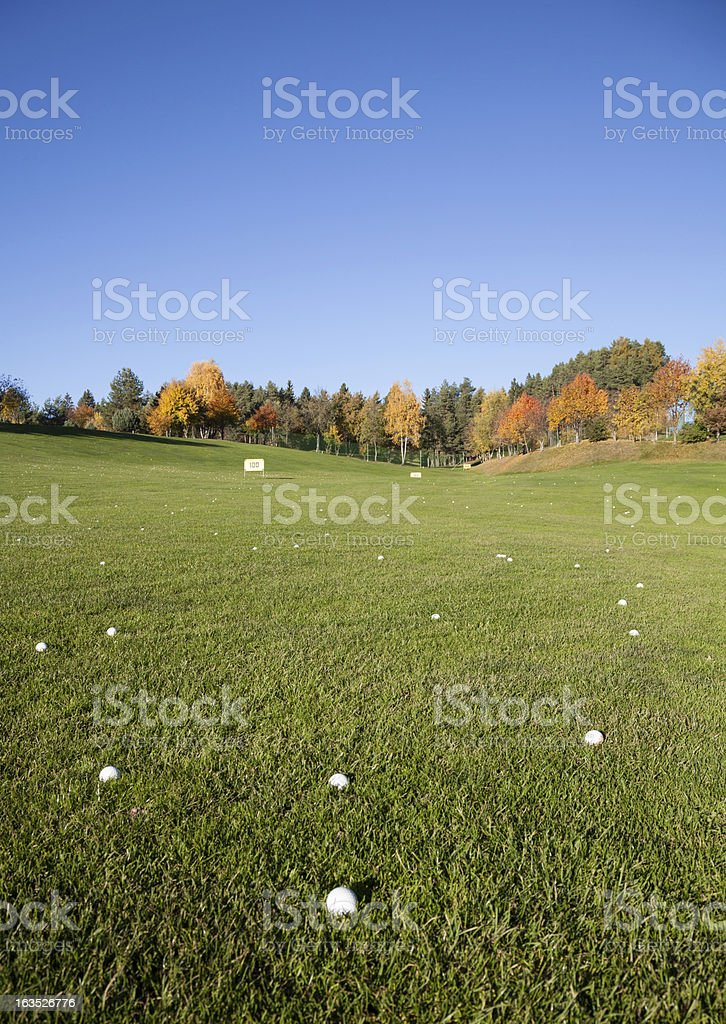 golf driving range meadow scenic stock photo