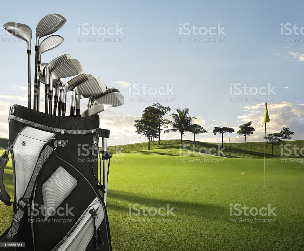 golf equipment and course stock photo