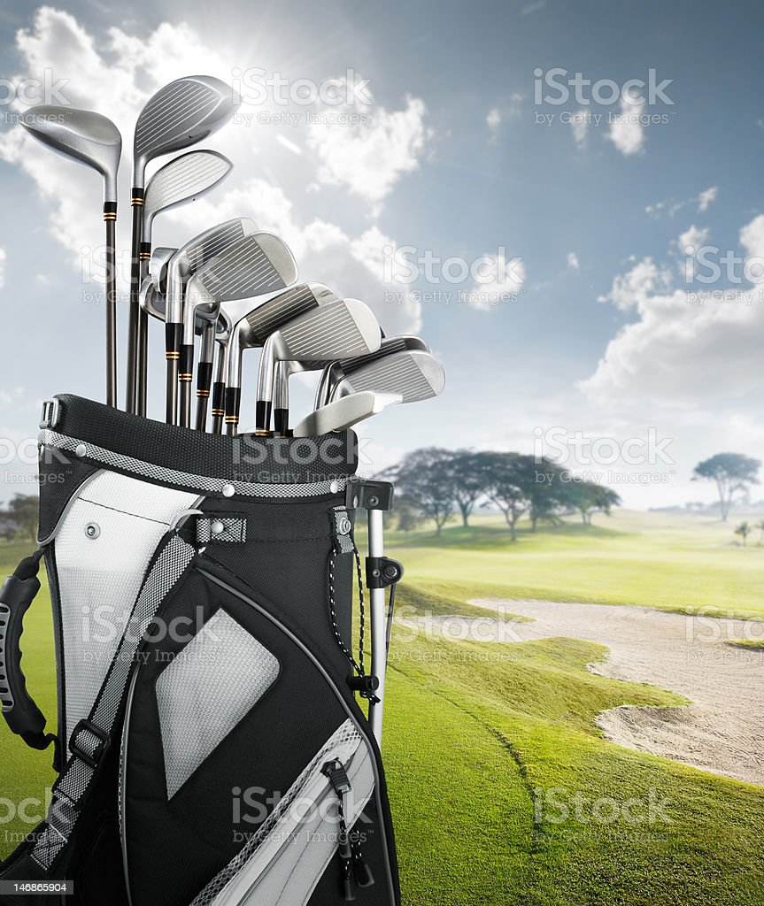 golf equipment at the course stock photo