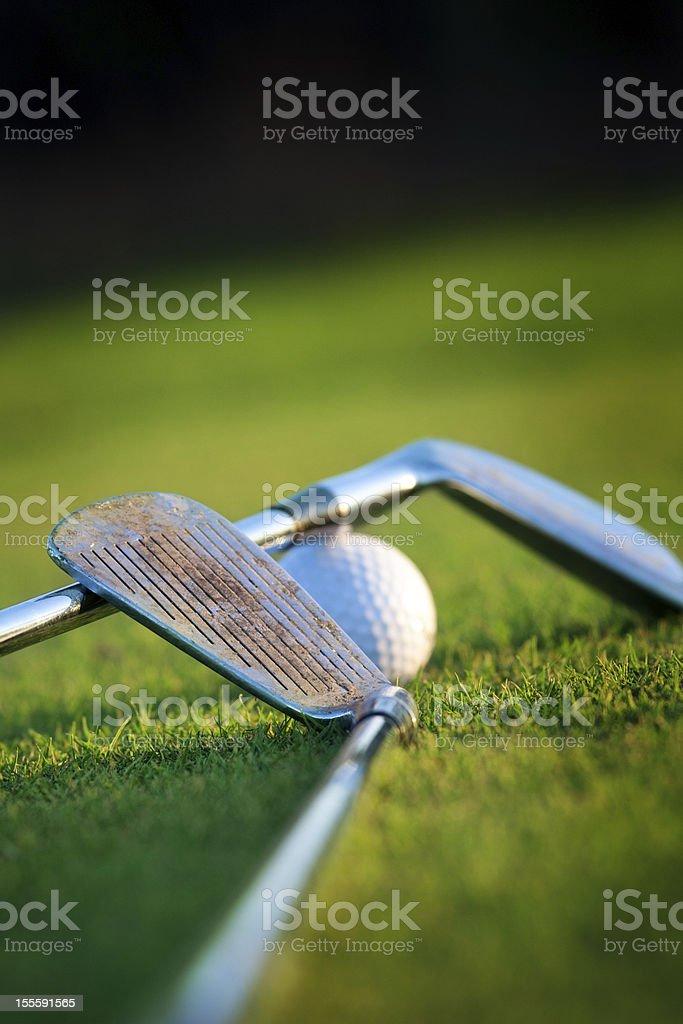 golf equipment on grass royalty-free stock photo