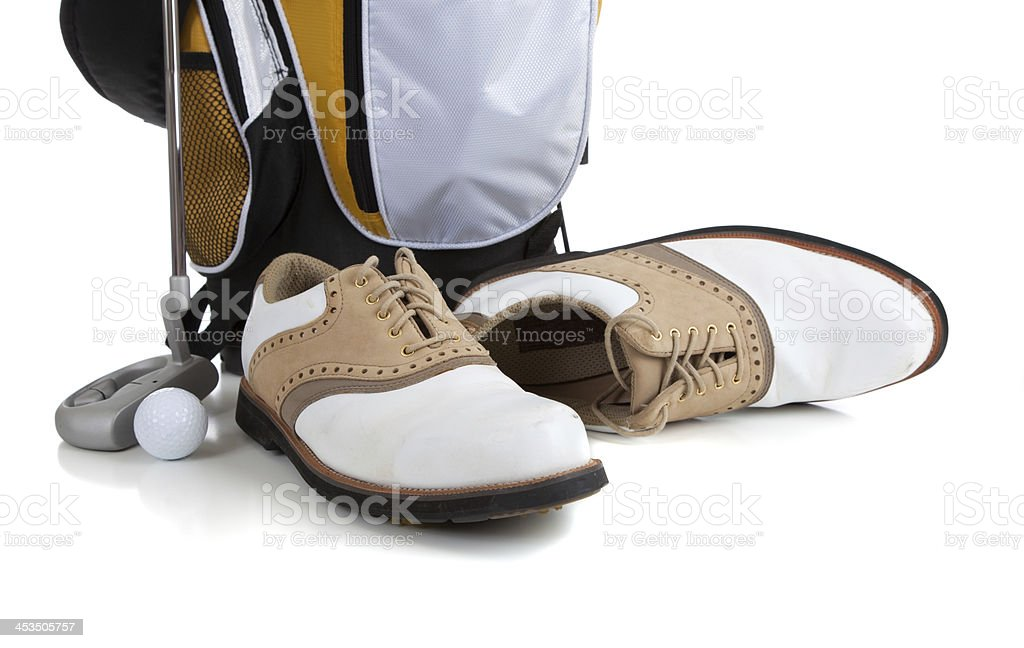 Golf equipment on White stock photo
