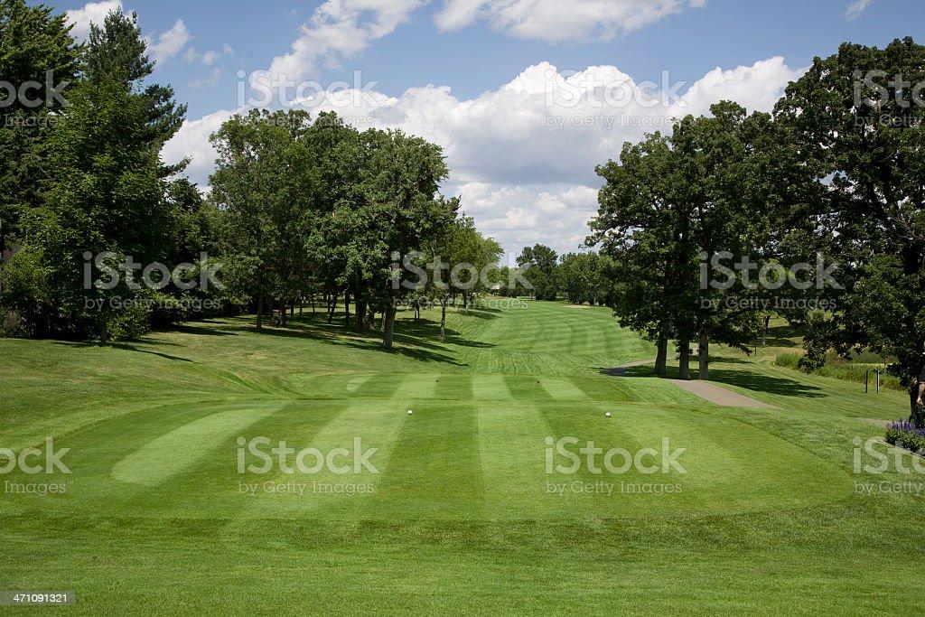 Golf fairway on sunny day stock photo