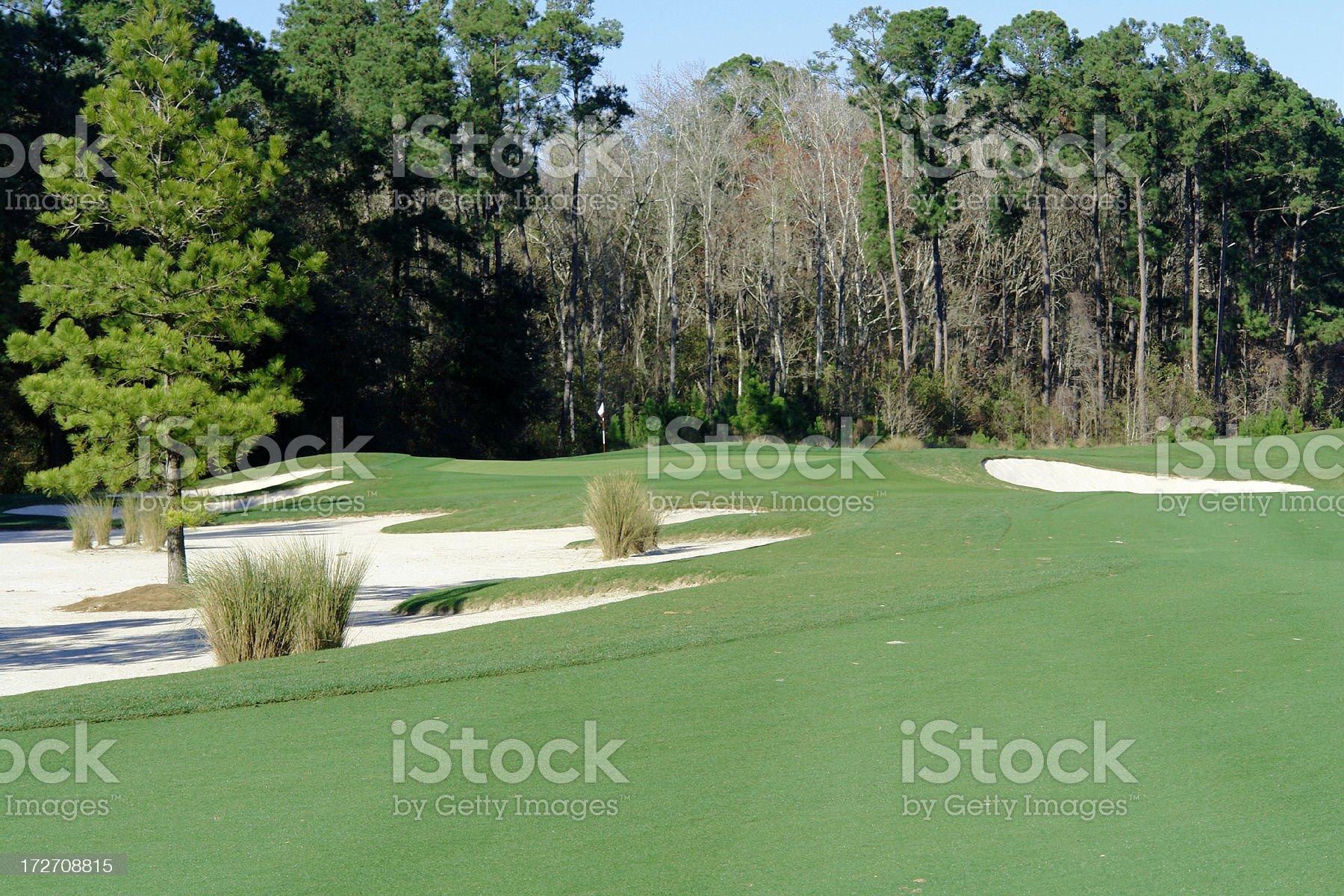 Golf Fairway,Sand Trap,& Green royalty-free stock photo