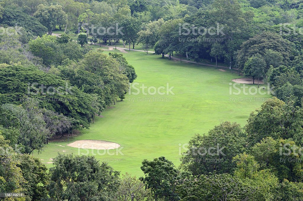 Golf field from arial view. royalty-free stock photo
