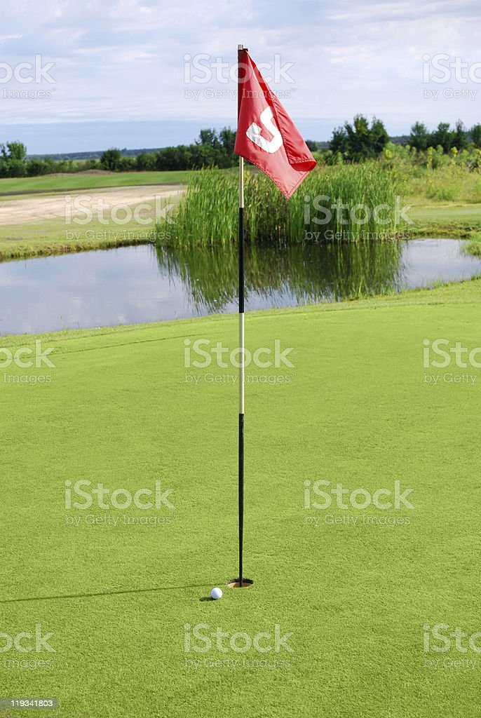 golf field with ball royalty-free stock photo
