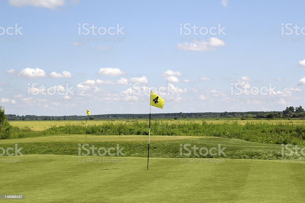 golf field with two yellow flags royalty-free stock photo