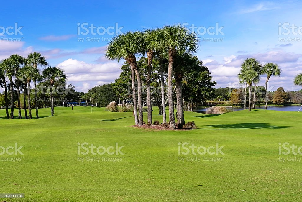 Golf fields and beautiful tropical landscape stock photo