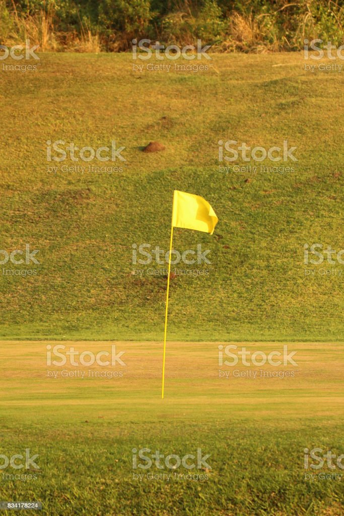 Golf flag on green stock photo