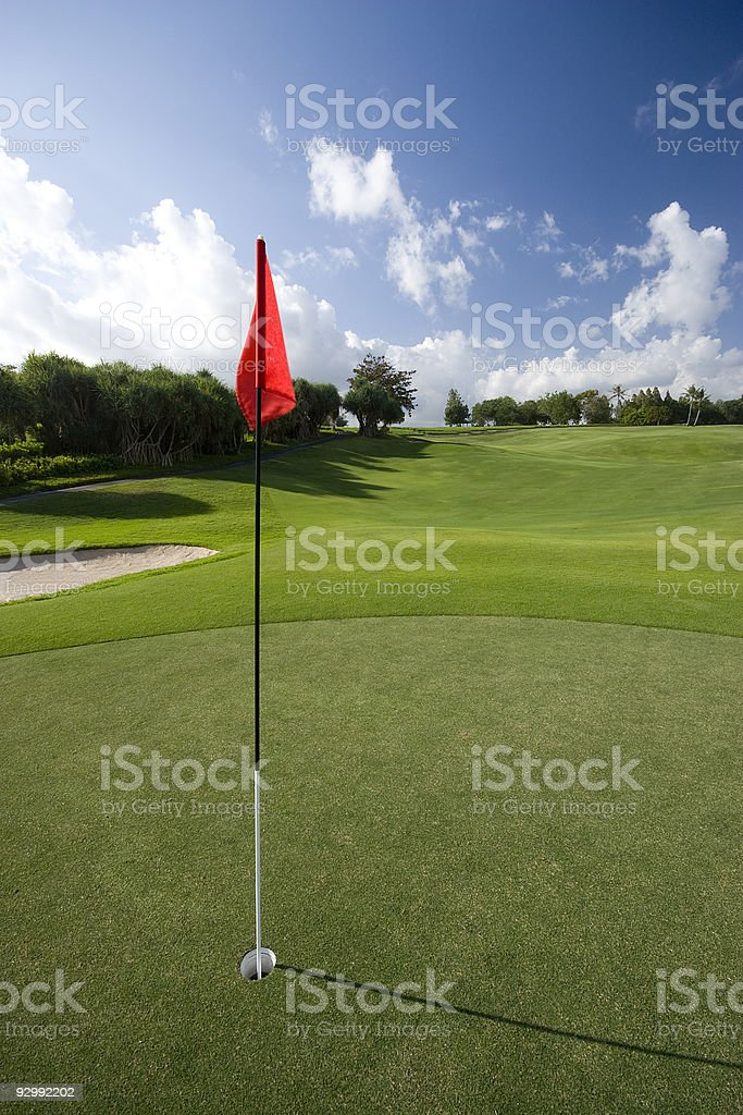 Golf Flag on the green royalty-free stock photo