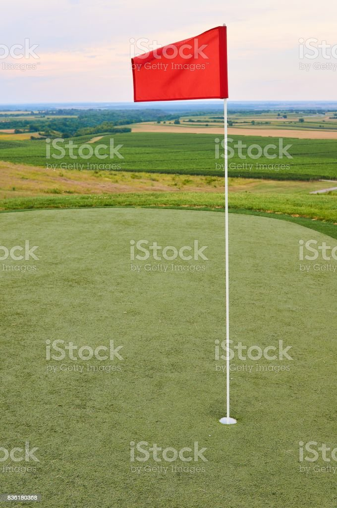 Golf flag stock photo