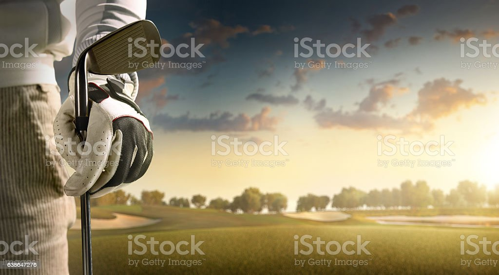 Golf: Golfer staying on a golf course stock photo