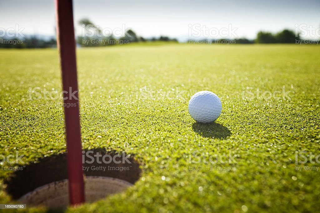 Golf grass court with ball stock photo