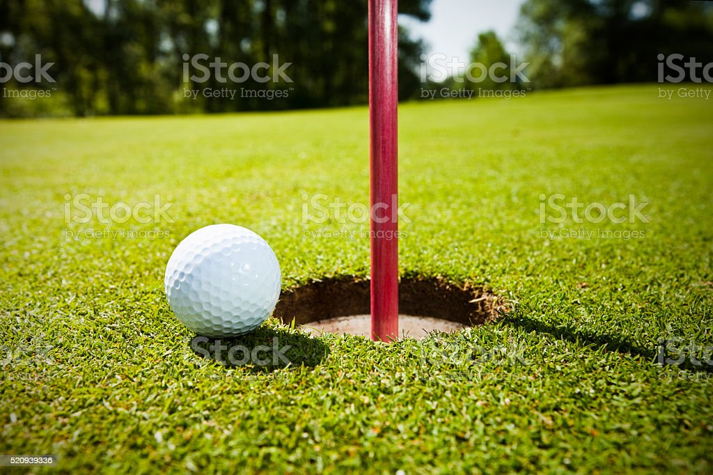 Golf grass court with ball stock photo
