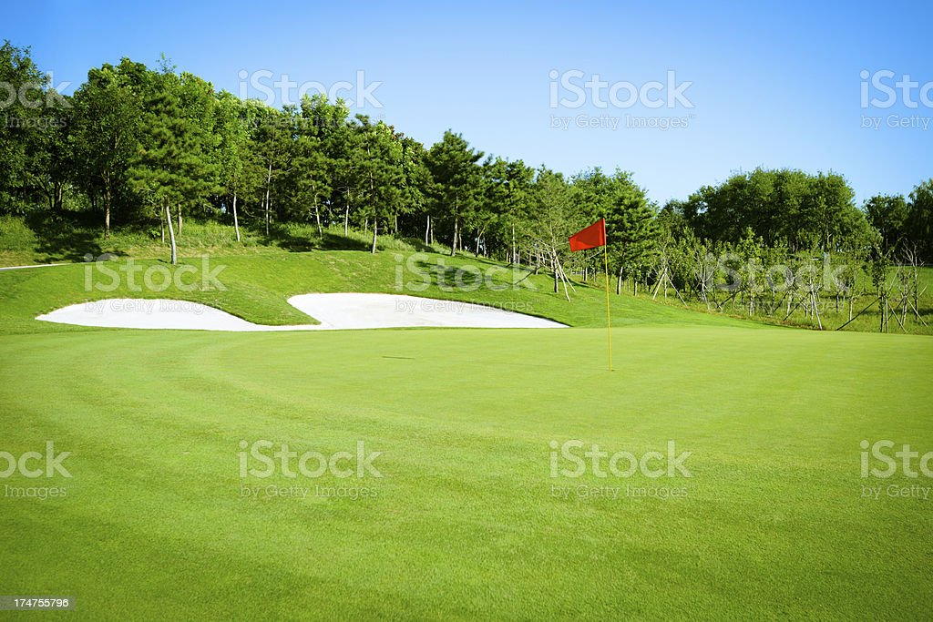 Golf Green And Fairway royalty-free stock photo