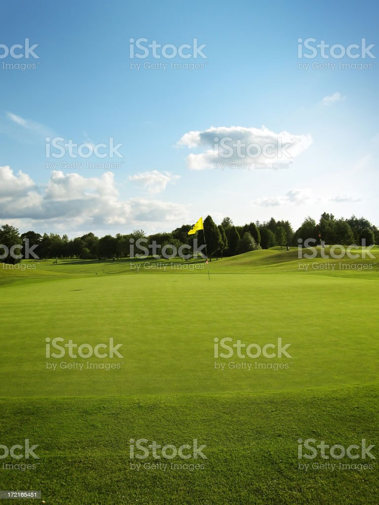 Golf green and nice sky royalty-free stock photo