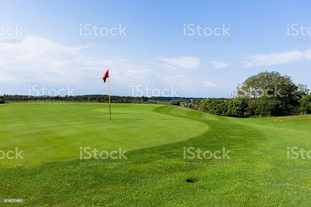 Golf Green Flagstick Landscape stock photo