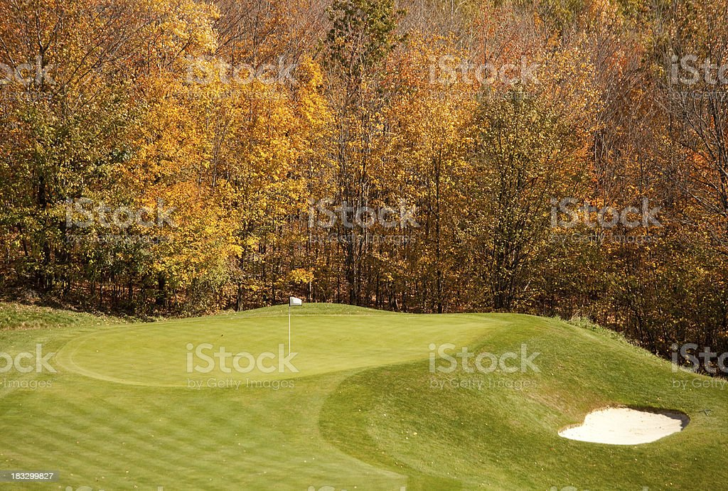 Golf Green in Fall royalty-free stock photo