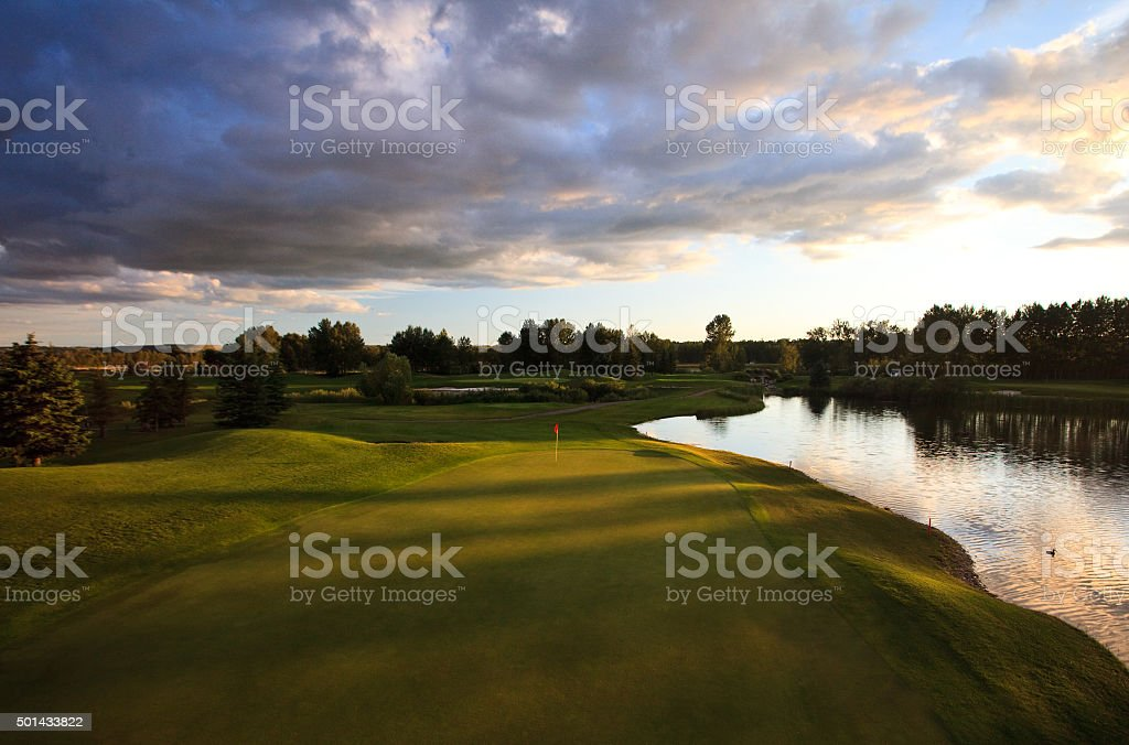 Golf Green in the American Midwest stock photo