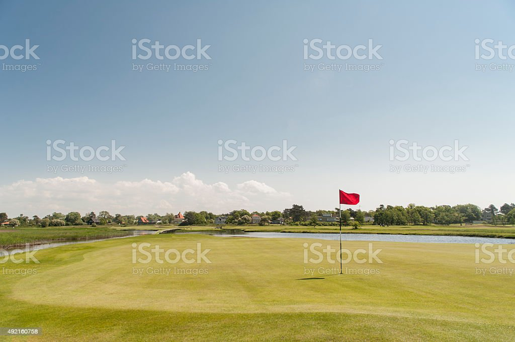 Links course green view on a sunny day