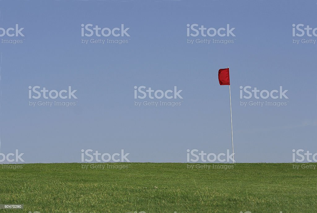 Golf Green, Red Flag royalty-free stock photo