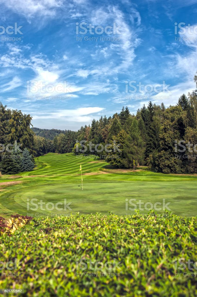 Golf green with flag stock photo