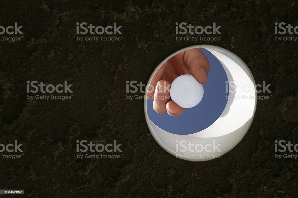 golf hole from below royalty-free stock photo