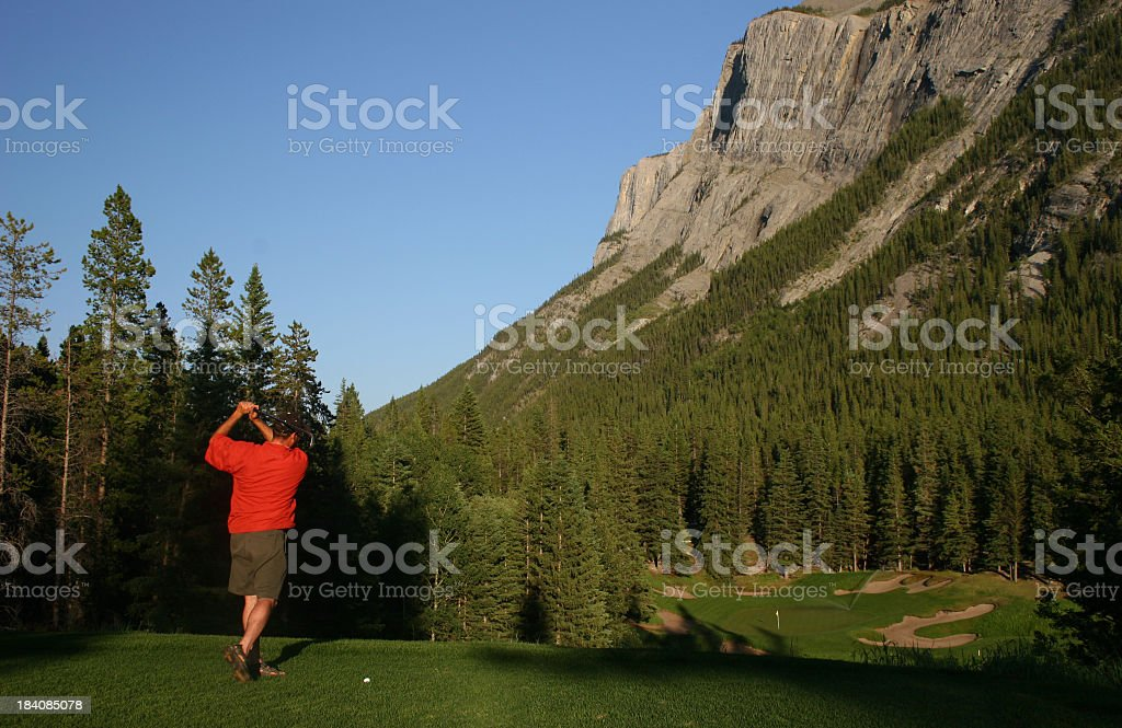 Golf in the Canadian Rockies stock photo